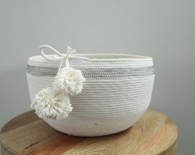 Basket rope coil bin storage organizer bowl pompoms natural grey by PETUNIAS