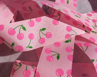 "1.5"" Pink Cherries Grosgrain Ribbon CLEARANCE 5 Yards 1 1/2 inch Cherry Ribbon"