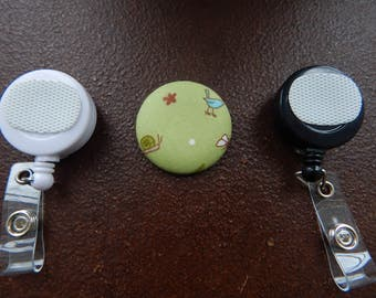 Fabric Covered Button for Clip on Retractable Badge Reel - Bird and Snail