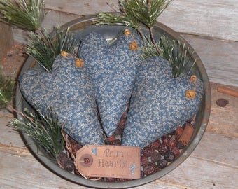 Set of 3 Primitive Grungy Rustic Country Blue Floral Old Fashioned LOVE Hearts Heart Shaped Bowl Fillers - Ornies - Tucks - Ornaments