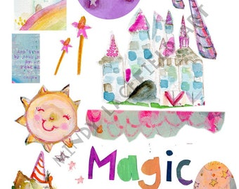 Magic Mixed media, journaling collage sheets - by Mindy Lacefield