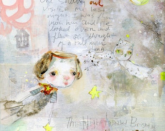 He Carries the Light - mixed media art print by Mindy Lacefield