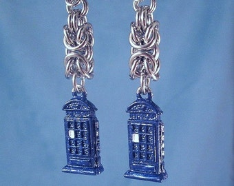Tardis Earrings Police Phone Box Stainless Steel Chainmaille Byzantine Time Lord Travel Pewter Charms with Blue Enamel Timey Wimey Women's