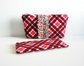 Makeup Bag Set, Cosmetic Case, Zipper Pouch, Women and Teens, Rhubarb Bayberry Plaid, Denyse Schmidt