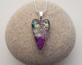 Iridescent Purple Heart Shaped Pendant Textile and Resin