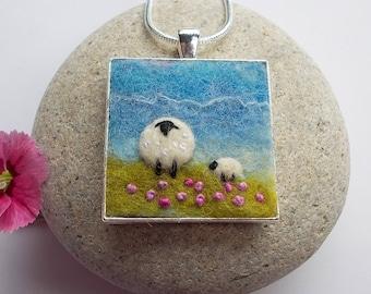 Sheep Pendant Necklace Handmade Felt Jewellery