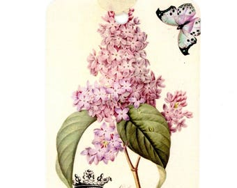 French Lilac Tags , Butterfly Tags, Crown , Vintage Lilac , Purple and Green Tags , Botony Tags , Vintage French , Bluebird Lane Gift Tags