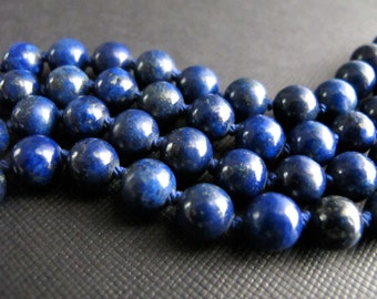 Double Wrap Necklace, Hand Knotted Lapis Necklace, Navy Blue Gemstone Jewelry