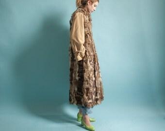 REVERSIBLE fox fur patchwork coat / long trench coat / patchwork fox fur coat / s / 110o / R3