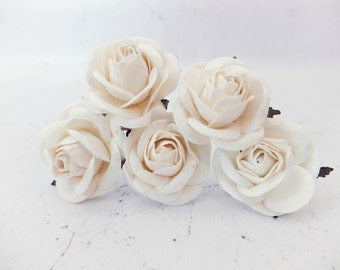 Large off white paper roses - 5 50mm/2 inches off white mulberry roses