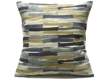 Pillow Cover Decorative Geometric Shades of Gray Black Gold White  18x18 inch TossThrow Accent 18x18 inch  x