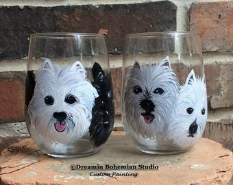 Stemless Wine Glasses Personalized, Custom Pet Portrait, Painting from photo, Best Wine Glasses, Wine Glasses Custom, Dog Portrait Artist