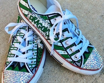 Converse Style Shoes, Crystallized Kicks, Crystallizedkicks, Custom Sneaker, Bling Gym Shoe, Team Mom, Cheer Mom, Dragons, Pop Art Shoes