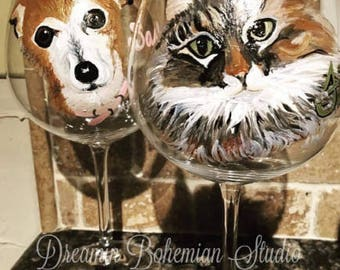Painted Wine Glasses, Custom Dog Cat Glass, Pet Portrait from photo, Animal Lover Trainer Mom Dad Daughter Friend Son Handler Unique Gifts