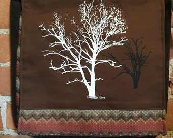 Sycamore and Walnut Tree Messenger Bag Brown Southwestern 12 x 12