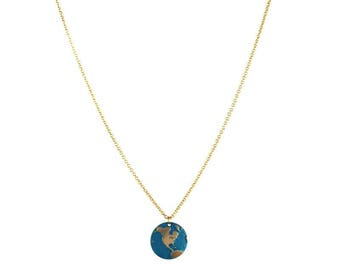 Aqua and gold earth necklace