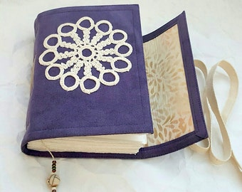 Blueberry Vegan Suede Journal, Vintage Crochet medallion added, Thick Ultra Suede, Top Quality