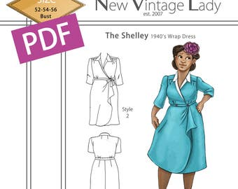The Shelley 1940s wrap dress in PDF size 52-54-56 bust NVL plus size multi size repro vintage sewing patterns