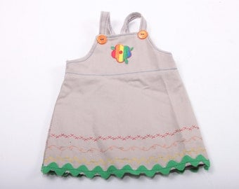 "18"" Doll Dress, Khaki Overalls, Rainbow Flower, Cute Dress, American Girl Doll ~ The Pink Room ~ 161119"