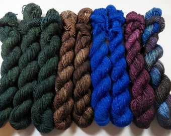 Destash Lot of 9 Mini Skeins at 40% OFF -- Hand Dyed SW Merino/Nylon 2-Ply Sparkle (20 Grams/87 Yards each) -- Doctor Who Assortment