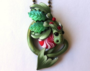 Holly and Mistletoe Dragon Necklace Polymer Clay Dragon Pendant Holiday Tree Ornament