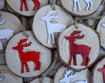 RESERVED for Vicky 8 Christmas wedding favours red & white reindeer ornaments natural wood slices