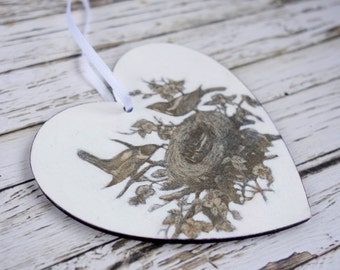 Original art ornament: decoupage vintage birds + nest hanging wood heart white black monochrome gift