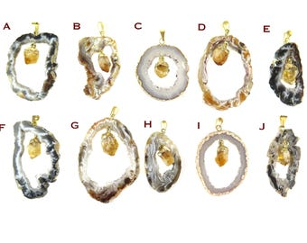 Geode Slice Pendants with Gold Plated Citrine Point - You Choose (1x) (NS723)