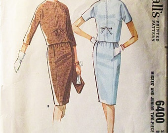 1960s Vintage McCalls Sewing Pattern 6400 Misses Two-Piece Dress Pattern Size 12 Bust 32