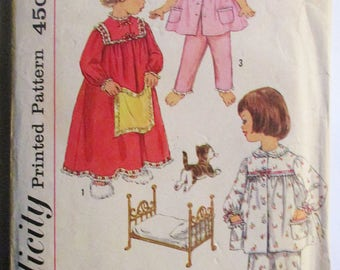 1950s Vintage Sewing Pattern Simplicity 3243 Childs Pajamas & Nightgown Pattern Size 6
