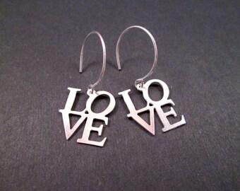 LOVE Earrings, Silver Love Word, Dangle Earrings, FREE Shipping U.S.