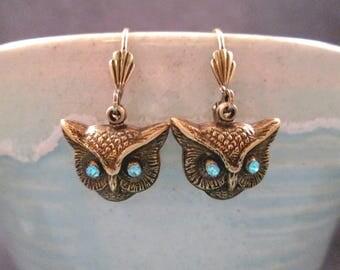 OWL Earrings, Aqua Blue Crystal and Brass, Bronze Dangle Earrings, FREE Shipping U.S.
