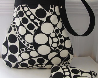 Purse / Handbag with Matching Coin Pouch in Circular Design