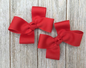 Tomato Red Hair Bows,Pigtail Hair Bows,Alligator Clips,3 Inch Hair Bows,Birthday Party Favors