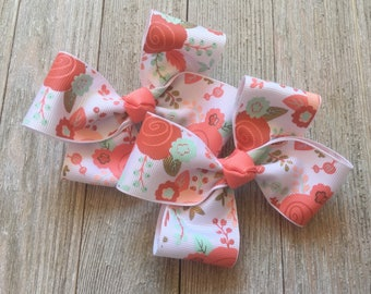 Coral,Peach and Mint Hair Bows,French Barrettes,4.5 Inches Wide,Pigtail Hair Bows,Birthday Party Favors,Ready to Ship