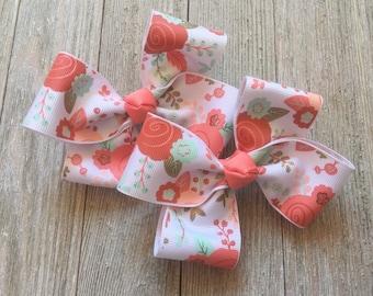 Hair Bows,Coral,Mint,Peach Hair Bows,Floral Hair Bows,Pigtail Hair Bows,French Barrettes,Ready to Ship