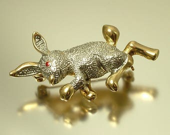 Vintage / estate 1980s gold tone rabbit bunny hare costume brooch pin - jewelry / jewellery