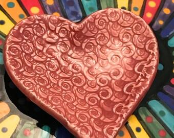 "Ceramic Stoneware Trinket Ring Dish Heart 3.5"" Weeping Plum Pink Swirls Ready to Ship TNK00035"