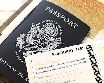 Black and Gold US Seal White Ink Passport Wedding Invitation (Río Hato, Panama)