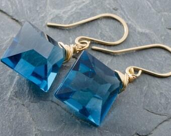 London Blue Quartz. London Blue Earrings. Faceted Square Briolette. 14 Karat Gold Fill. Blue Quartz Earrings. Gold Gemstone Jewelry.