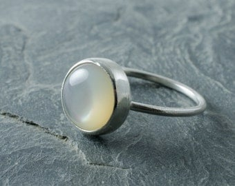 Mother of Pearl Stacking Ring. Stacking Ring. Sterling Silver Ring. Custom Size. June Birthstone. Birthstone Jewelry