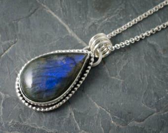 Labradorite Pendant. Labradorite Necklace. Gemstone Jewelry. Blue Labradorite Gemstone. Teardrop Cabochon. Fancy Labradorite Necklace.