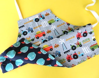 Kids Apron, Kids Reversible Apron for Boys, Children's Apron for Cooking, Art and Craft, Farm, Modern Apple, Cotton and Steal