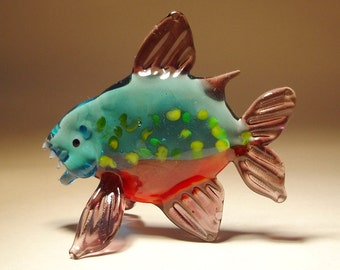 Handmade Blown Glass Figurine Art Fish PIRANHA