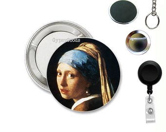 """1.50"""" ART Pins, Magnets, Badge Reels, Pins, Key Ring Mylar Covered Buttons Girl with Pearl Earring, Vertumnus, Mona Lisa, Fair Face of Woman"""