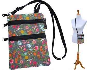 Crossbody Purse - 3 Zippered Pockets Bag - Small Cross body zippered pocket Purse Bag -Washable - Small Cell Phone Purse Love Blooms Fabric