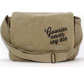 Messenger Bag   GOONIES never say die   Gift for Men   Camera Bag   Canvas   Crossbody Bag   Travel   Hipster   Large   80s   Gift for Women