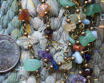 ONE METER Chakra Handmade Gemstone Chip Beads Rosary Necklace Chains with Antique Bronze Links