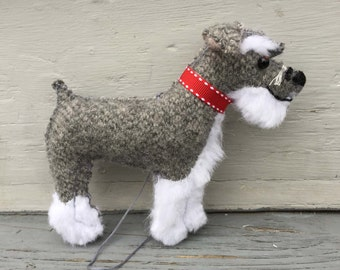 Schnauzer Wool Dog Friend Ornament, Handsewn