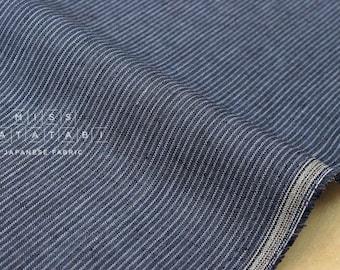 Japanese fabric 100% linen yarn dyed stripes - indigo blue - 50cm